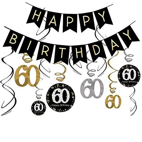 LeoHome 60th Birthday Decorations Kit- Gold Glitter Happy Birthday Banner & Sparkling Celebration 60 Hanging Swirls-60th Anniversary Decorations