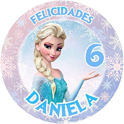 OBLEA de Princesa Elsa Frozen Personalizada con Nombre y Edad para Pastel o Tarta, Especial para cumpleaños, Medida Redonda de 20cm de diámetro