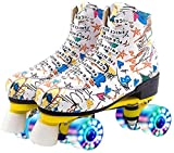 Graffiti Microfiber Roller Skates Double Line Skates Women Men Adult Two Line Skating Shoes with White PU 4 Wheels Training (Flash Wheel-White,41)