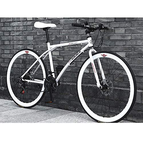YXWJ 24 velocità della Bicicletta Outroad Mountain Bike for Adulti e Teenager 24/26 Pollici Bianco Nero 40 Spoke Adulto Uomini E Donne Viaggi MTB Bike (Dimensione : 26 Inches)
