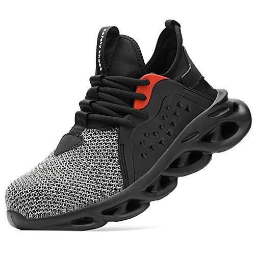[マンディー] 安全靴 作業靴 メッシュ スニーカー メンズ レディース 超通気 鋼先芯(JIS H級相当) セーフティーシューズ 軽量 おしゃれ 防滑 夏場対応 サンダルタイプ 8088/M/グレー/36