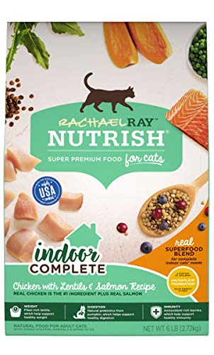 Rachael Ray Nutrish Indoor Complete Premium Natural Dry Cat Food, Chicken with Lentils & Salmon...