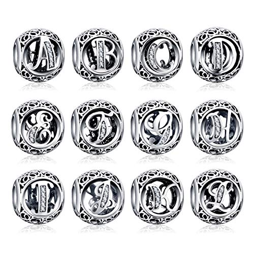 XIAODAN Alfabeto de la A a la Z, abalorio de Plata de Ley 925 con Letras, Ajuste Original, Pulseras de 3 mm, Colgante, fabricación de Joyas DIY, CMC738-R