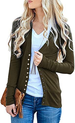NENONA Women's V-Neck Button Down Knitwear Long Sleeve Soft Basic Knit Cardigan Sweater(Army Green-XL)