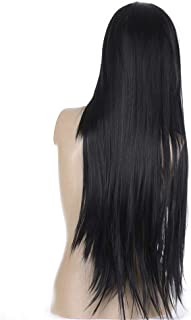 Beautiful women fashion black long straight wig natural color wig 0.8 meters long with hair mesh