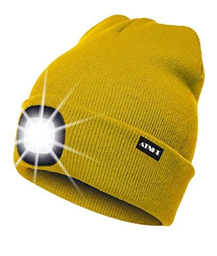 ATNKE Gorra de goma con luz LED, USB recargable Running Hat - Lámpara de luz impermeable a prueba de agua con 4 LED ultra brillante y faro de alarma intermitente multicolor (Amarillo, 1PCS)