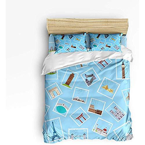 N/A 3 Stück Bettwäsche Set, Moderne Welt Foto Stempel Design Bettbezug Set Quilt für Kinder/Kinder/Jugendliche/Erwachsene Queen-Size