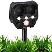 Ultrasonic Dog Chaser, Solar Animal Deterrent with Motion Sensor and Flashing Lights, Outdoor Waterproof Farm Garden Yard Repellent, Dogs, Cats, Birds, Squirrels, Rats
