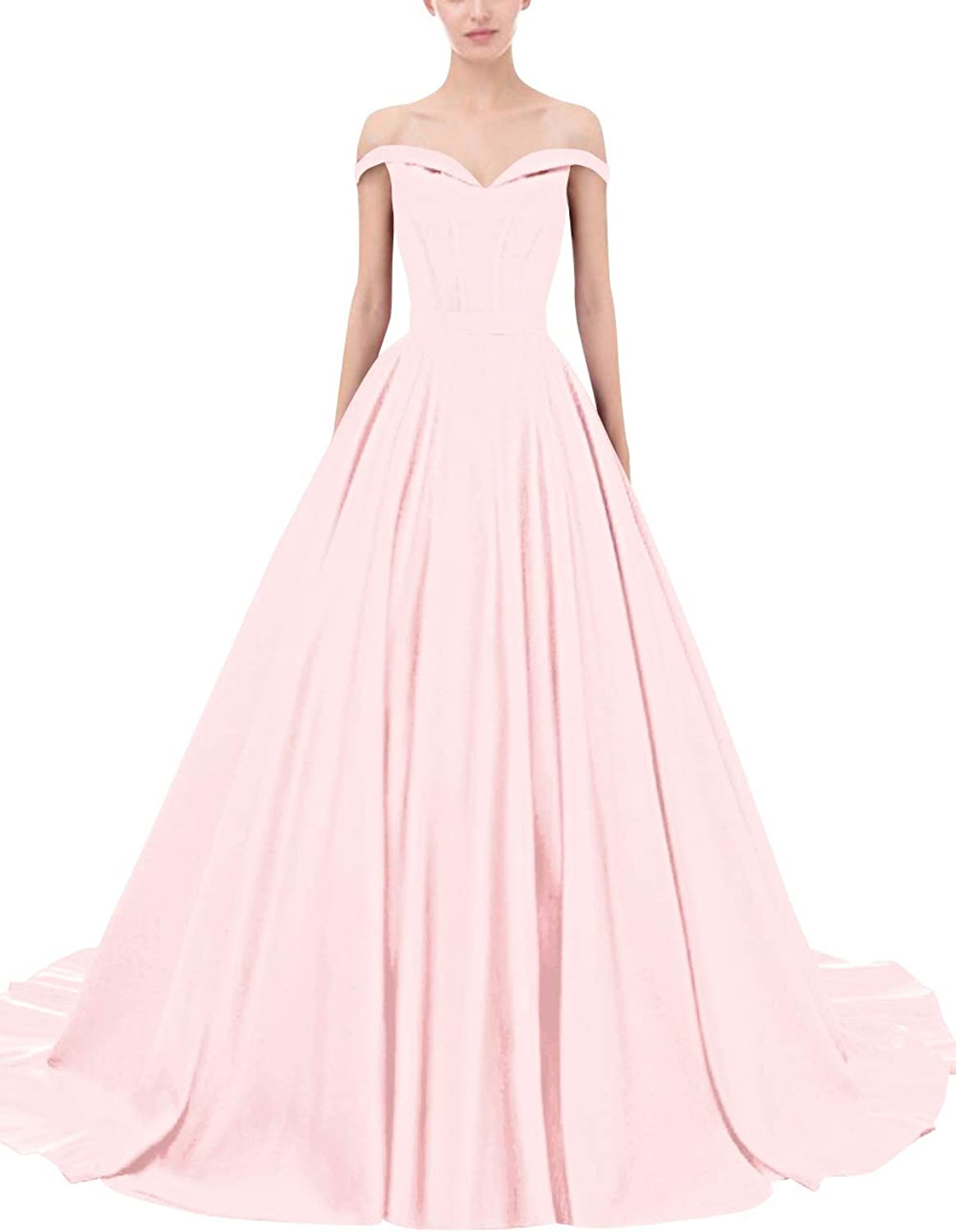 Bess Bridal Women's Ball Gown Lace up Off Shoulder Formal Prom Evening Dress