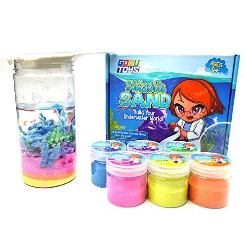 Gosu Toys Atlantis Sand Hydrophobic Magic Sand Box Set Over 2lbs of Sand 6 Colors (Green, Yellow, Pink, Blue, Orange, Purple)
