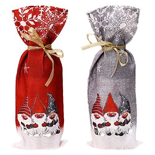 2 piezas de decoración navideña botella de vino cubierta hecha a mano botella de vino decoración de fiesta de...