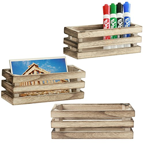MyGift 7-Inch Burnt Wood Magnetic Storage Crate-Style Boxes, Set of 3