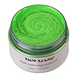 MOFAJANG Unisex Hair Wax Color Dye Styling Cream Mud, Natural Hairstyle Pomade, Washable Temporary,Party Cosplay (Green)