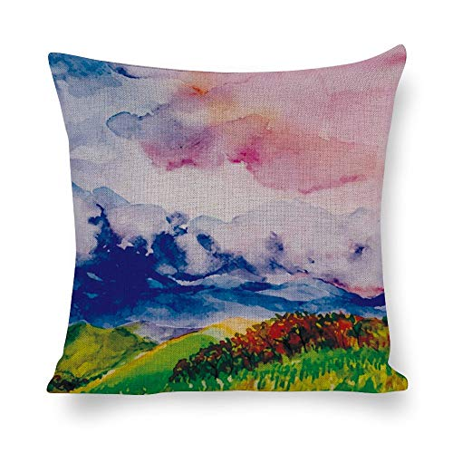 Federa quadrata in cotone e lino, per cuscino, per divano, letto, sedia, colore acquatico, motivo grafico