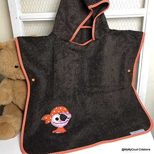 poncho de bain enfant 2 à 6 ans brodé pirate éponge marron création fait main