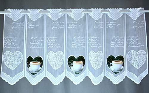 Albani Scheibengardine Kaffee Herz Bedruckt Höhe 45cm oder 60cm | Breite der Gardine frei wählbar in 15cm Schritten | Gardine | Panneaux (Höhe 45cm)