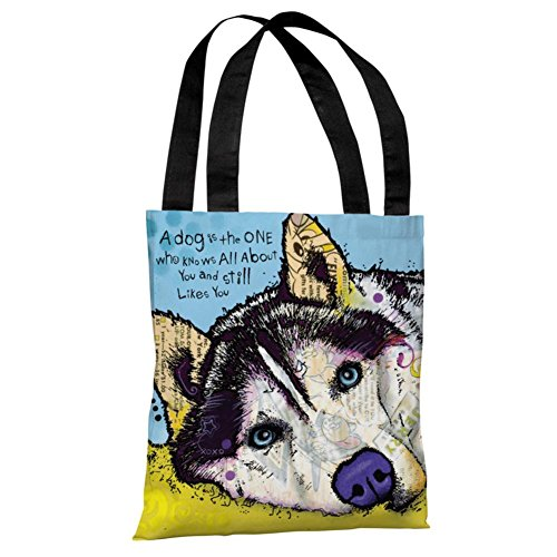 One Bella Casa 72128TT18P 18 in. Siberian Husky with Text Polyester Tote Bag by Dean Russo