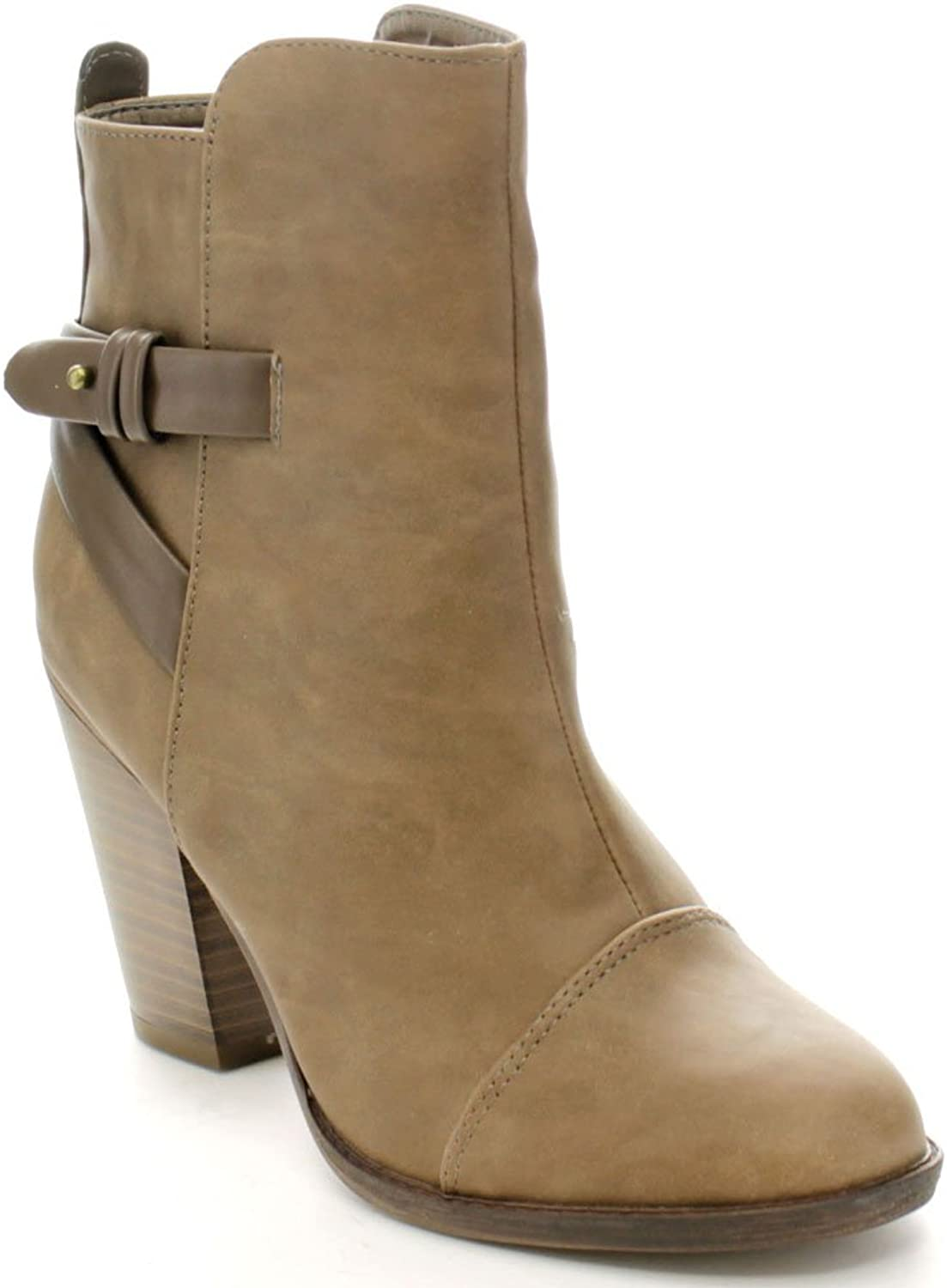 Breckelles HEATHER-32 Women's High Top Belted Chunky Stacked Heel Ankle Booties, color Beige, Size 6.5