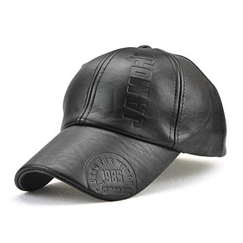 Roffatide Uomo PU Pelle Sintetica Cappellino da Baseball Polo Cappello Berretto Autunno e Inverno