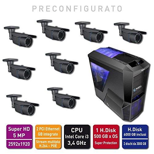 Jenimex Kit Videosorveglianza IP 5MPixel :NVR +8 Camere IP Super HD 2592x1920 preconfigurazione e supporto tecnico del produttore per 12 mesi