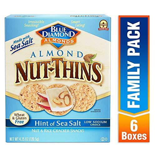 Blue Diamond Almond Nut Thins Cracker Crisps, Hint of Sea Salt, 4.25 Ounce (Pack of 6)