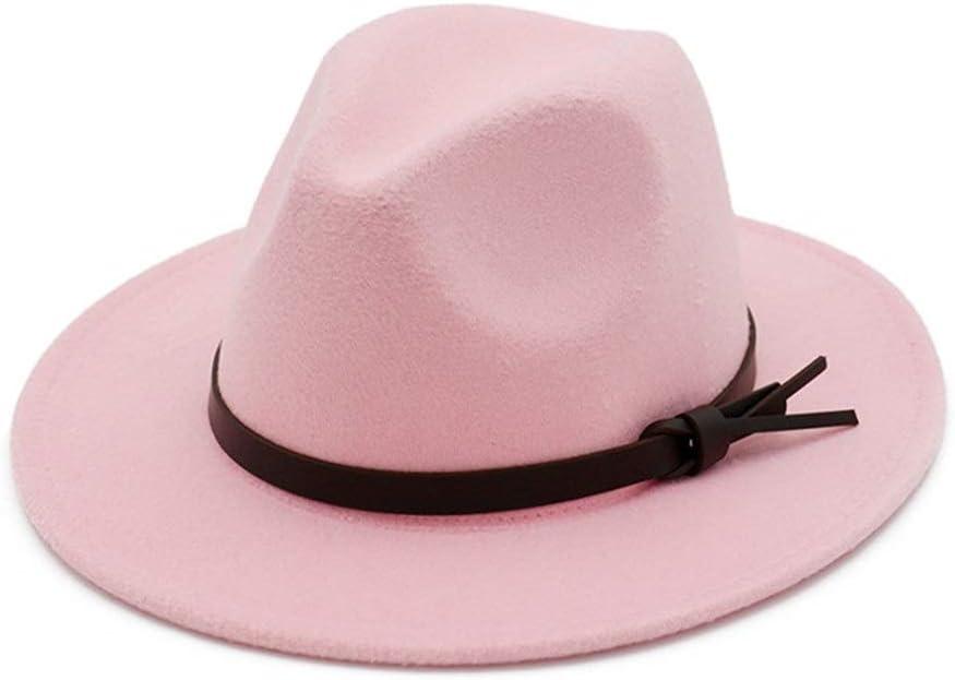 Men Women Flat Wide Brim Jazz Hat Cotton Hat Fedora Hat Belt Buckle Ladies Formal Party Autumn Winter Hat (Color : Pink, Size : 59-60cm)