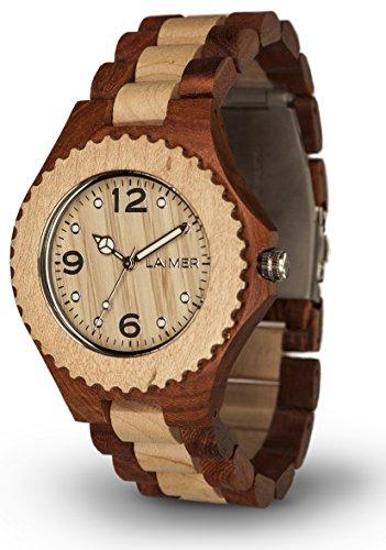 LAiMER orologio da polso in legno WINNIE | legno bagolaro e acero | 100% prodotto naturale | Alto Adige | leggero come una piuma, ipoallergenico ed ecosostenibile