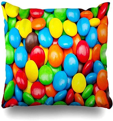 BONRI Throw Pillow Cover Color marrón Brillante Pila Cerrada Variación Cubierta de Chocolate Caramelo Bebidas de Comida Fiesta Verde Fiesta Funda de cojín para el hogar Cuadrado 17×17pulgada