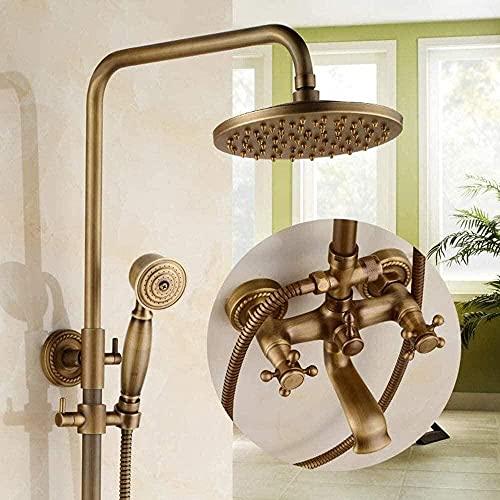 MLFPDXC-Baño conjunto de grifo de ducha de latón antiguo ducha de lluvia y ducha de mano sistema de grifo de ducha de baño montado en la pared (color: E) -G