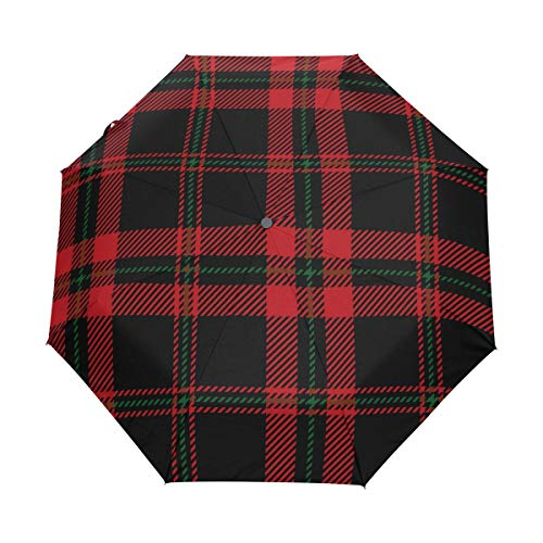 Jereee Christmas Red Black Green Plaid Compact Travel Umbrella, Outdoor Rain Sun Car Folding Umbrellas for Windproof, Reinforced Canopy, UV Protection, Ergonomic Handle, Auto Open/Close