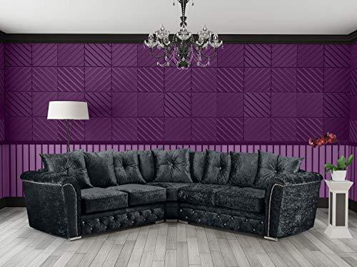 HHI - Black Crushed Velvet Corner Sofa For Living Room Include Cushions - 5 Seater corner sofa- Corner Couch for sale UK Main Land