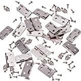 INCREWAY 50 Conjuntos 30*26mm Mini Bisagras, Plata Bisagras Plegables de Gabinete de Hierro con Tornillos para Joyas, Cajones, Armarios, Muebles, Accesorios de Madera