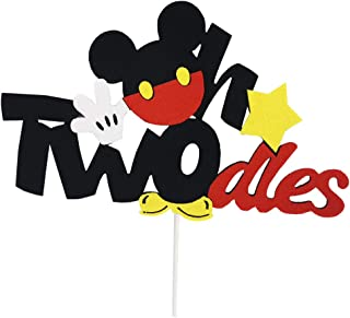 CHuangQi Oh Twodles Cake Topper, Mickey Themed 2nd Birthday Cake Decor, Second Birthday Party Supplies