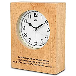 TXL Wood Desk Clock 5.1 Wooden Digital Tabletop Analog Alarm Clock, Battery Operated with Silent Sweep, Ascending Beep Sounds, Snooze,Night Light,Gentle Wake, Easy Set-3