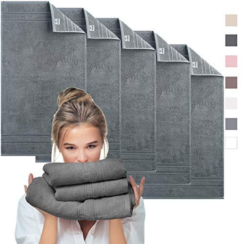 sei Design Luxus Frottee Handtuch Set Aqua Fibro | 5er Pack | 100% Ägäis Baumwolle, 50 x 100, Anthrazit - Grau
