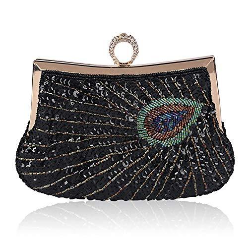 QinWenYan Abendtasche Damen Handgemachte Wulstige Diagonal Schulter Einhand-Abendtasche (Color : Black, Size : 23cm x 18cm)