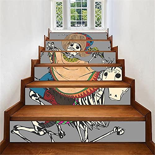 Pegatinas para escaleras, adhesivo autoadhesivo para escaleras, extraíble en 3D, pegatinas para escaleras encantadas de Halloween, calcomanías de vinilo, papel tapiz mural, 18x100 cm x 6 piezas(Colo