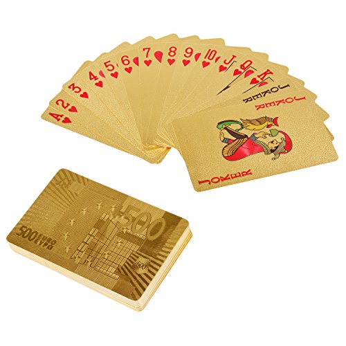 YoungRich Cartes à Jouer 54 Cartes De Luxe Poker De Papier Doré Double Face étanches Plastique, Utilisation pour Les Fêtes ES Activités de Club et de Plein Air