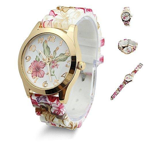 flyyfree Hot Fashion Frauen Kleid Armbanduhr Silikon bedruckt mit Blumen ursächlichen Quarz Armbanduhren (Wein Rot)