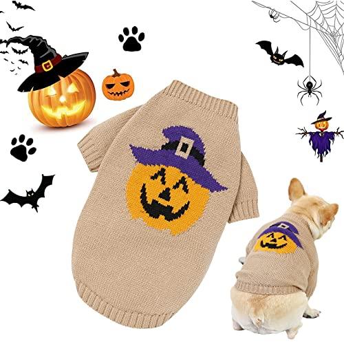 Hund Halloween Pullover Haustier Kleidung Niedlichen Urlaub Kostüm Wintermantel Pullover für Welpen Katze Kleine Mittelgroße Hunde (Khaki, M)