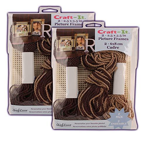 Kit de broderie pour cadre photo en plastique – Lot de 2 – Pour 4 cadres photo de 11,4 x 14,9 cm – Cadeau idéal.