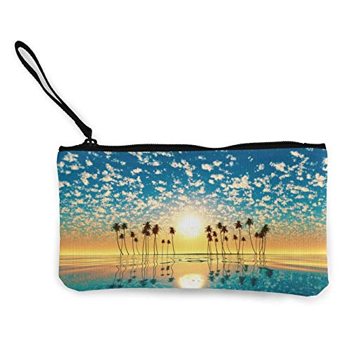 Tropical Beach Sunset Womens Coin Change Purse Pouch Multipurpose Toiletry Bags Wallet Craft Bag