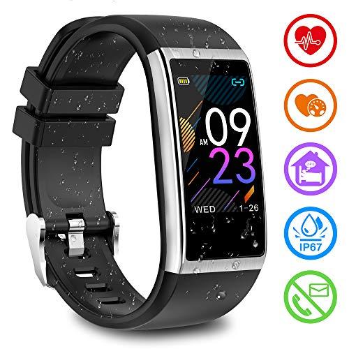 Fitnessarmband met hartslagmeter, fitnesstracker met bloeddrukmeting, hartslagmeter, fitness-horloge, activiteitstracker, stappenteller, slaapmonitor, horloge, waterdicht IP67, smartwatch voor dames en heren, voor iOS en Android, zilver