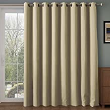 RHF Wide Thermal Blackout Patio Door Curtain Panel, Sliding Door Insulated Curtains,Thermal Curtains,Grommet Curtains, Extra Wide Curtains, Curtains for Sliding Glass Door:100W by 84L Inches-Beige