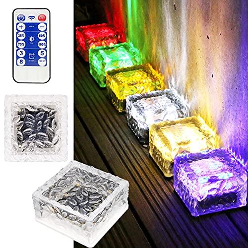 MEDOYOH 1 luz colorida de ladrillo de cristal solar, luz de cubo...