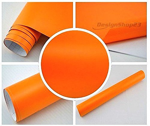 4,5€/m² Auto Folie - ORANGE MATT - 100 x 152 cm BLASENFREI selbstklebend flexibel Car Wrapping Klebe Folie