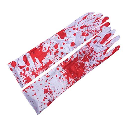 STOBOK 1 par Halloween Trajes Sangrentos Terror Luvas Sangrentas Vampiro Cosplay Luvas de Sangue Luvas de Desempenho para O Halloween Masquerade Festival Performance (Branco Vermelho)