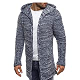 OMINA Mens Long Cardigan Sweaters Lightweight Hoodie Autumn Winter Warm Fashion Casual Slim Fit Trench Coat Gray