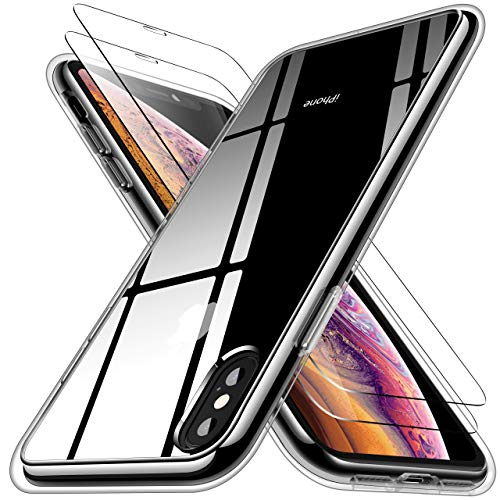RANVOO iPhone Xs Case, iPhone X Case with 2 Screen Protectors, Crystal Clear [Anti Yellowing] Protective Case [Military Grade Protection] with Reinforced Soft TPU Bumper and Transparent Hard PC Back