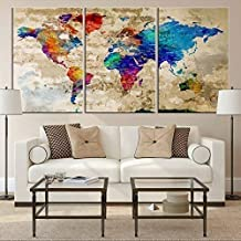 Watercolor World Map Wall Art by My Great Canvas | 3 Piece Multi Panel X-Large Hanging Canvas Print for Home Decor | Track Your Travels with This Rainbow Looking Map | Framed & Ready to Hang, 3 Size